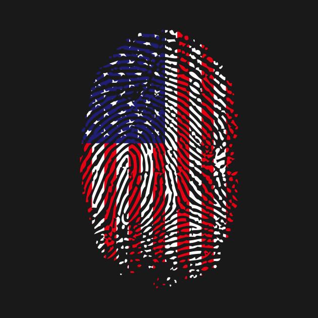 AMERICAN FLAG FINGER PRINT PATRIOTIC