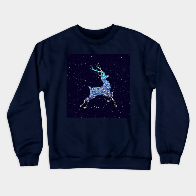 Flying Blue Reindeer Mandala in the Night Sky