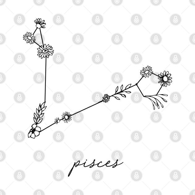 Pisces Zodiac Wildflower Constellation