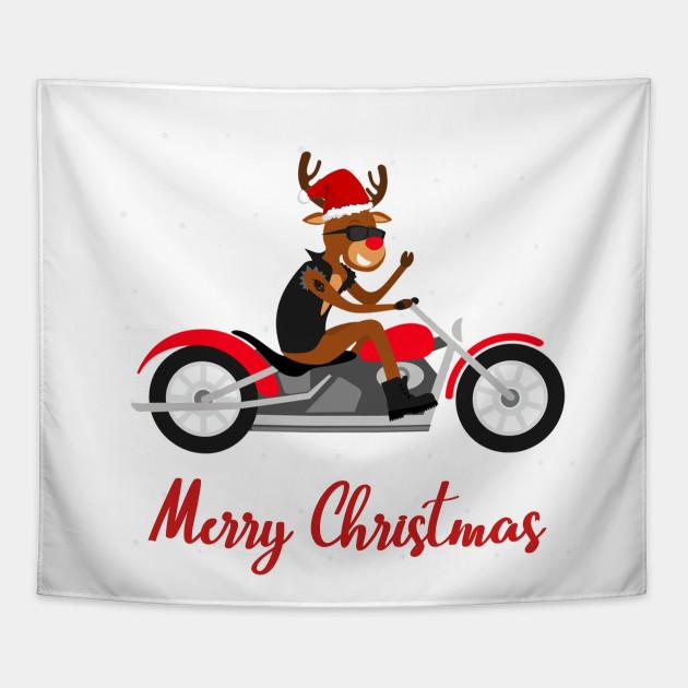 Biker Christmas.Funny Reindeer Motorcycle Biker Christmas