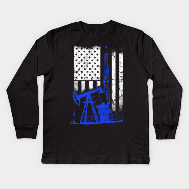 b11a66ae Oilfield drilling rig on the usa flag - Oilfield - Kids Long Sleeve ...