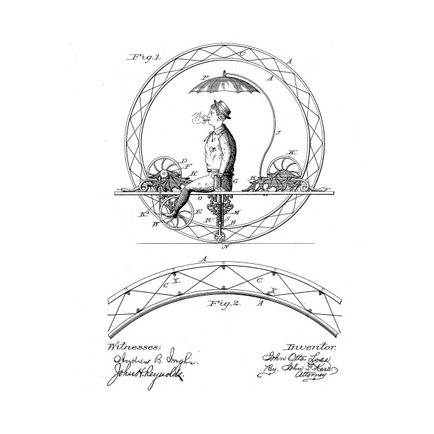 One Wheeled Vehicle Vintage Patent Hand Drawing