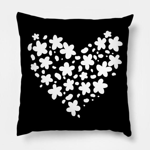 Cute White Flower Silhouette Heart Shaped Flowers Pillow Teepublic