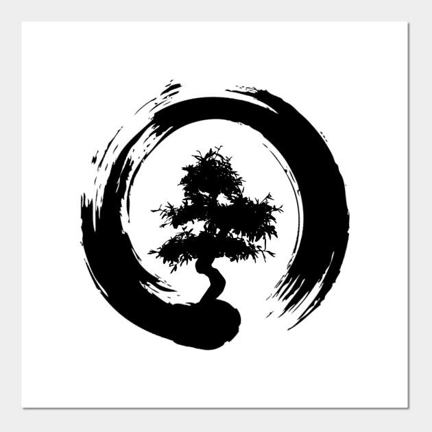 Bonsai Tree Enso Circle Buddhist Zen Calligraphy Bonsai Tree