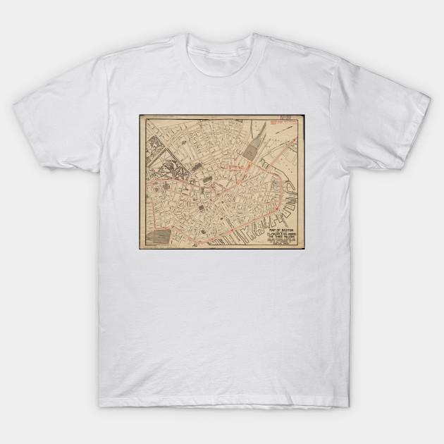 Vintage Map of Downtown Boston MA (1911)