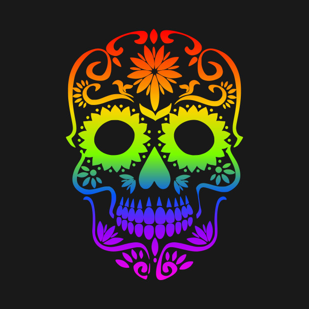 Rainbow Sugar Skull Halloween Day of The Dead Dia de Muertos