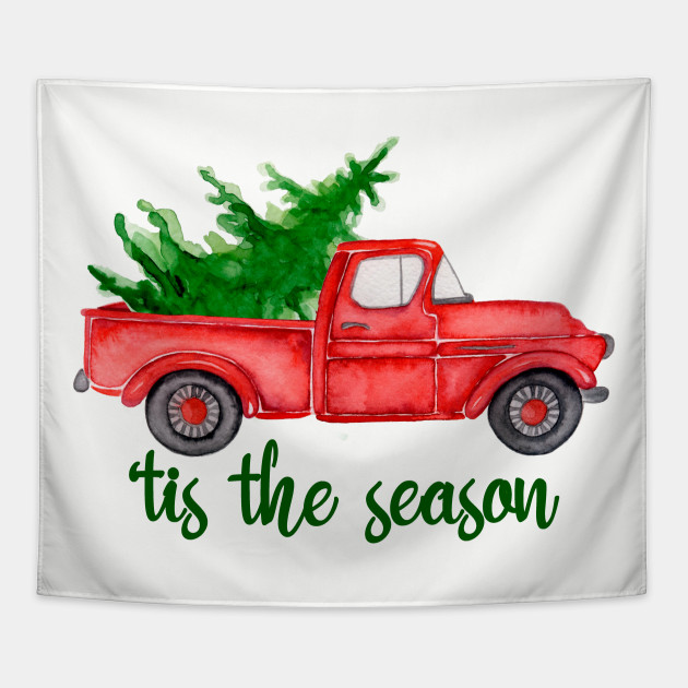 Old Red Truck With Christmas Tree In Back.Tis The Season Watercolor Retro Red Truck With Christmas Tree