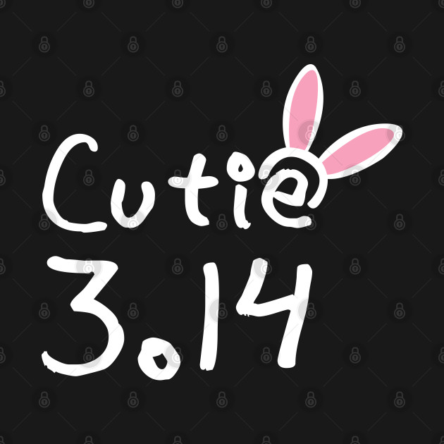 Cutie pie (π) 3.14 typography text with bunny band on girly pink background