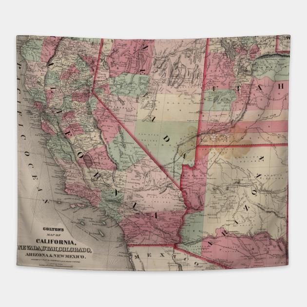 Vintage Southwestern United States Map (1869)