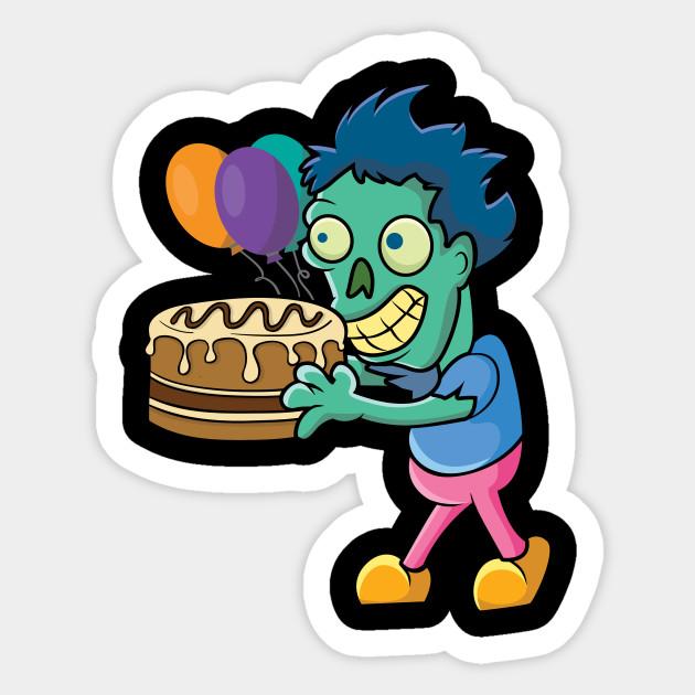 Funny Zombie Birthday Cake Party Sticker