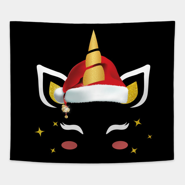 837cd0b02c63d Eyelash Christmas Unicorn Wearing Santa Hat Girls T-Shirt Tapestry