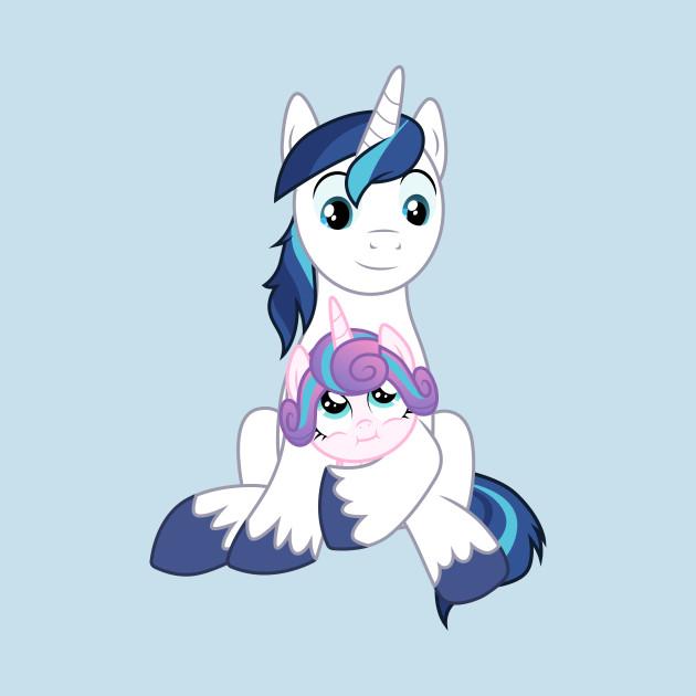 shining armor holding flurry heart my little pony t shirt