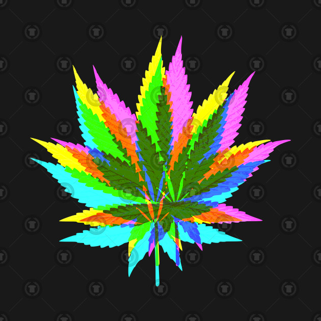 Marijuana Weed Leaves Psychedelic Neon Colored 2 Cannabis Tank