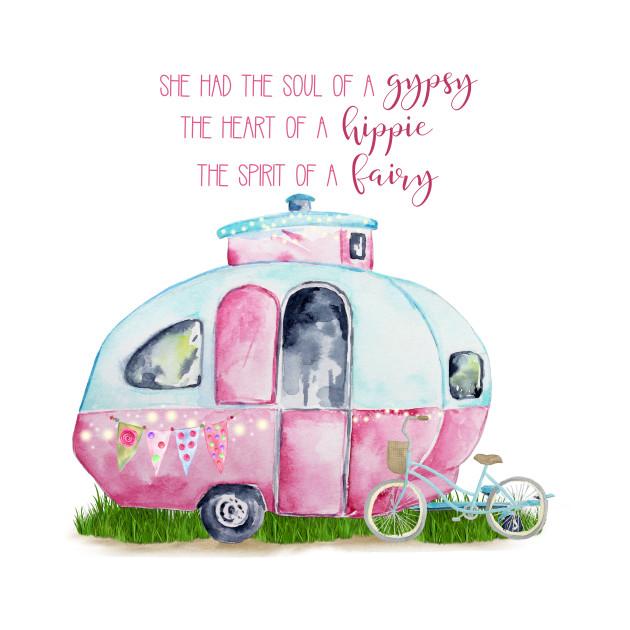 """""""Gypsy Hippie Fairy"""" Retro Camper Caravan"""