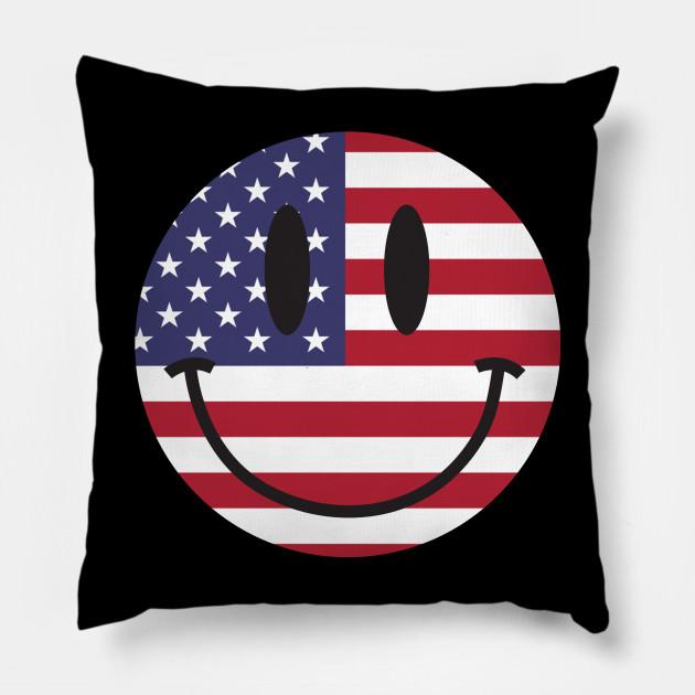 Us Flag Smiley Face Smiley Face Pillow Teepublic