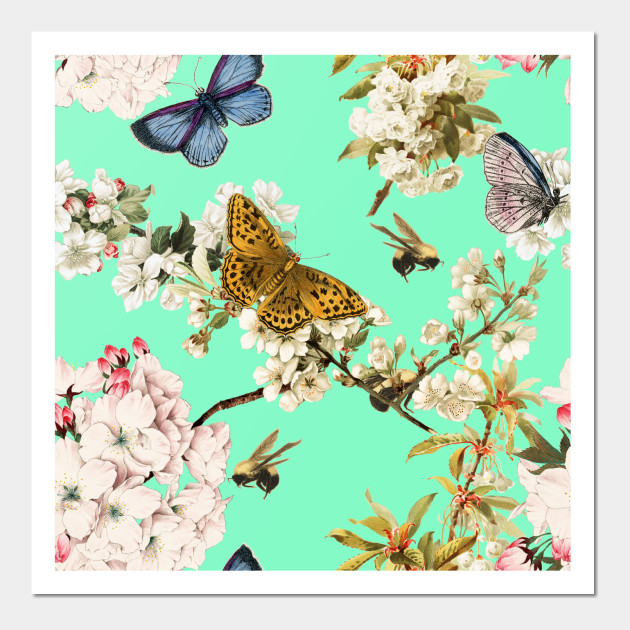 cb9d78656 Butterflies and Cherry Blossoms - Butterfly - Posters and Art Prints ...