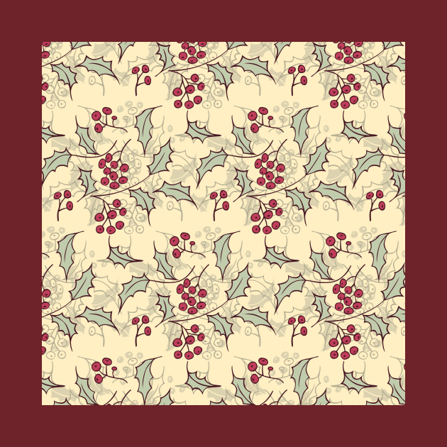 Holly berry Christmas pattern design