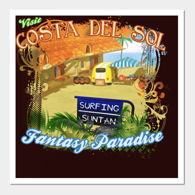 Costa Del Sol Hippie Van - Fantasy - Wall Art | TeePublic