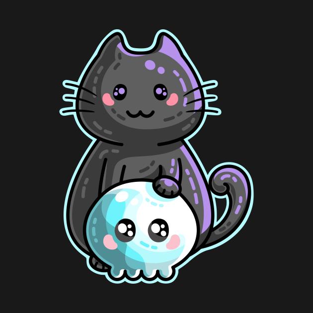 Kawaii Cute Black Cat and Skull