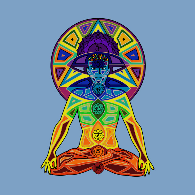 Man with Colored Chakras in Lotus Position