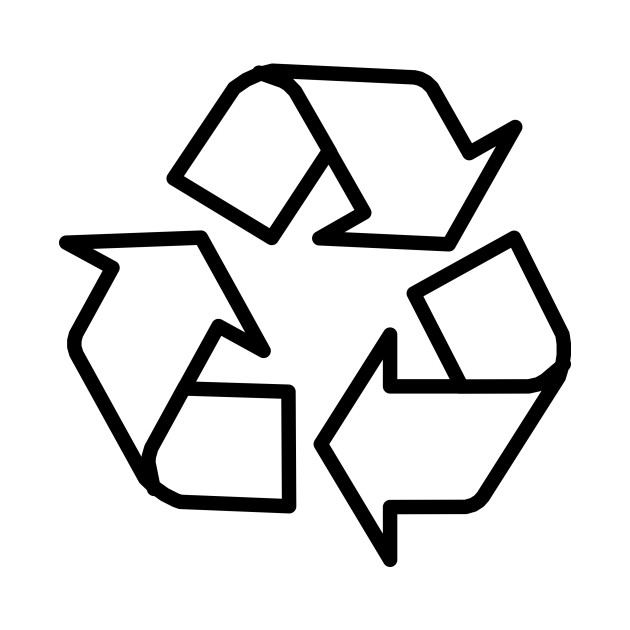 Limited Edition Exclusive Recycling Symbol 3 Arrows Black Outline