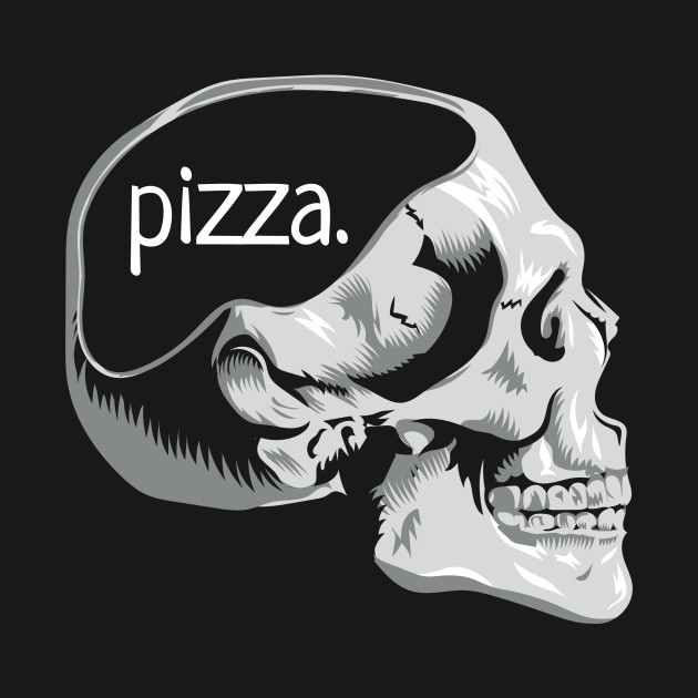 Funny Skull Pizza on the Mind Pun Novelty Graphic Art Pizza Lover Design