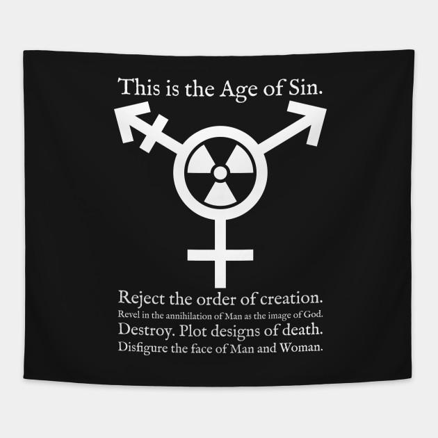 Trans Radiation Alternate Papal Text White Transgender Symbol