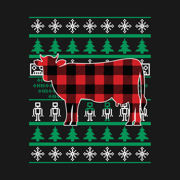 Plaid Cow Ugly Christmas Sweater Matching Family T Shirt Plaid Cow