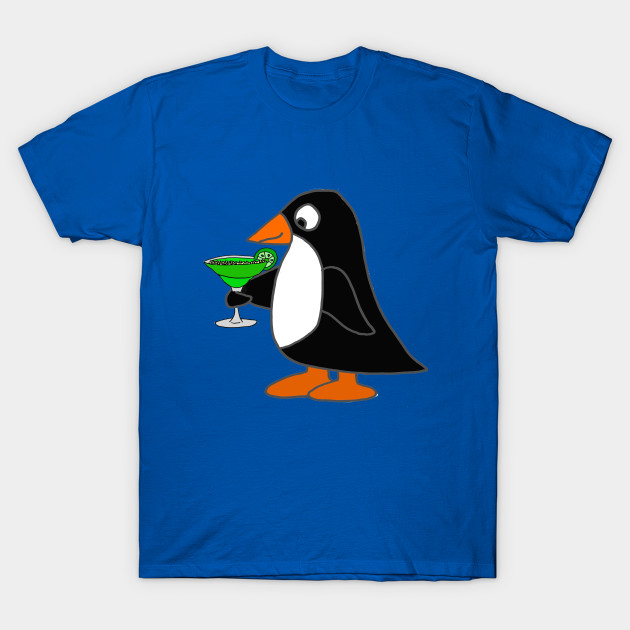 59618f39 Cool Penguin Drinking Margarita Art - Penguin - T-Shirt | TeePublic