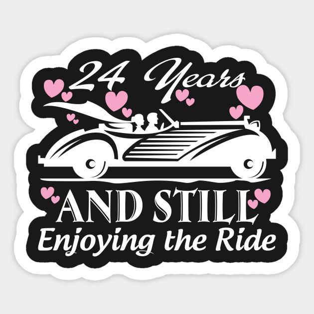 Anniversary Gift 24 Years Wedding Marriage Anniversary Sticker