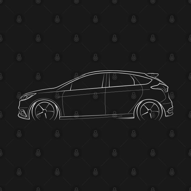 Ford Focus ST - profile stencil, white