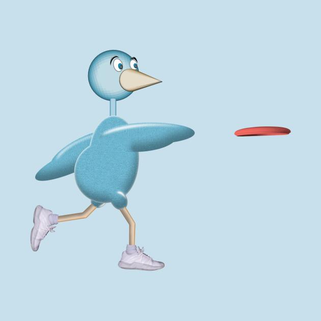 Disc Golfing Blue Bird