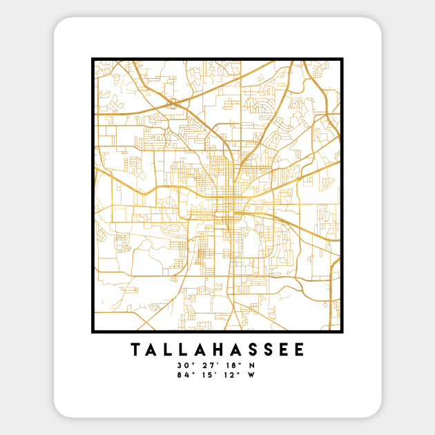 Map Of Florida Showing Tallahassee.Tallahassee Florida City Street Map Art