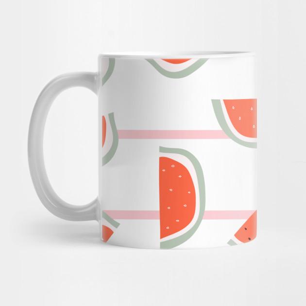 red watermelon slice with bones design on striped pink background watermelon pattern mug teepublic teepublic