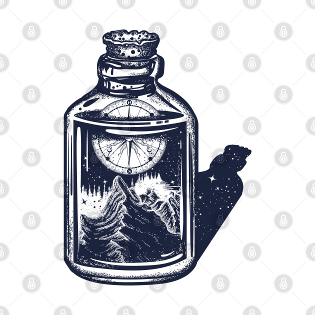 Compass in bottle