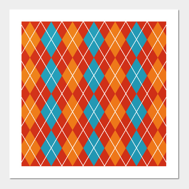 red blue and orange argyle argyle pattern posters and art prints