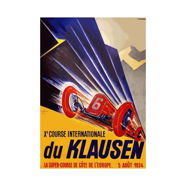1934 Klausen Automobile Race, Klausen Switzerland - Vintage Poster Design