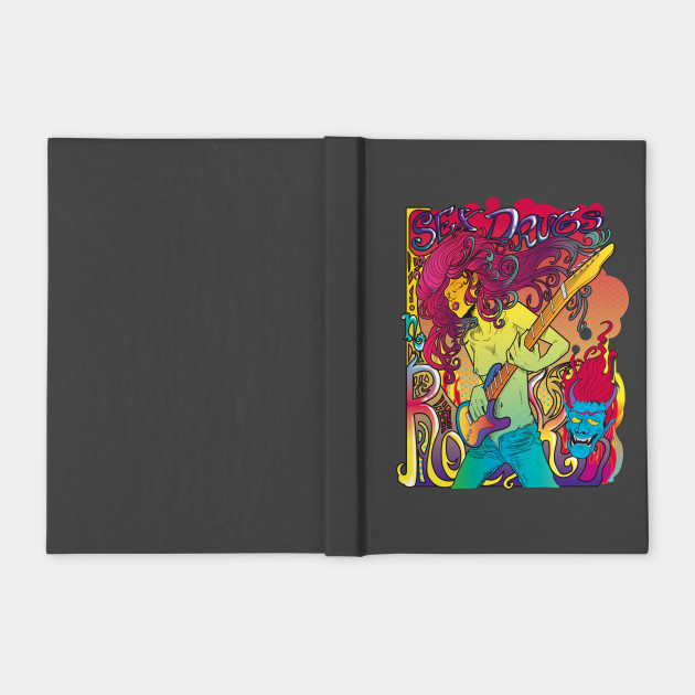 5b710bc6 Psychedelic Rock Star Shirt - Rock Star With Guitar - Notebook ...