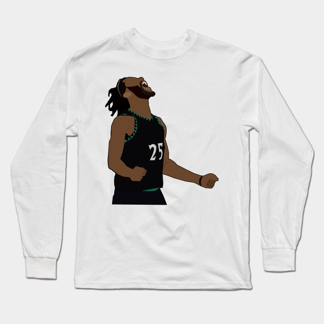 a92e8cb7815 Derrick Rose 50 Point Celebration - Minnesota TimberWolves Long Sleeve T- Shirt