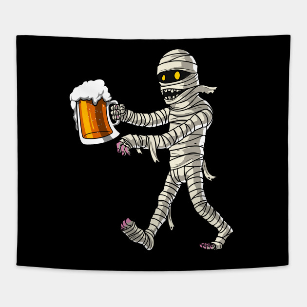 Mummy Zombie Beer Drinking Party Funny Scary Halloween