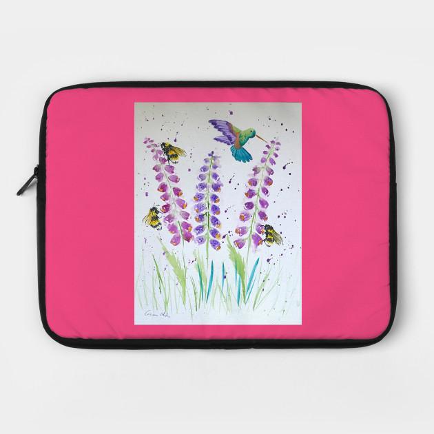 Hummingbird, bumble bee and foxglove