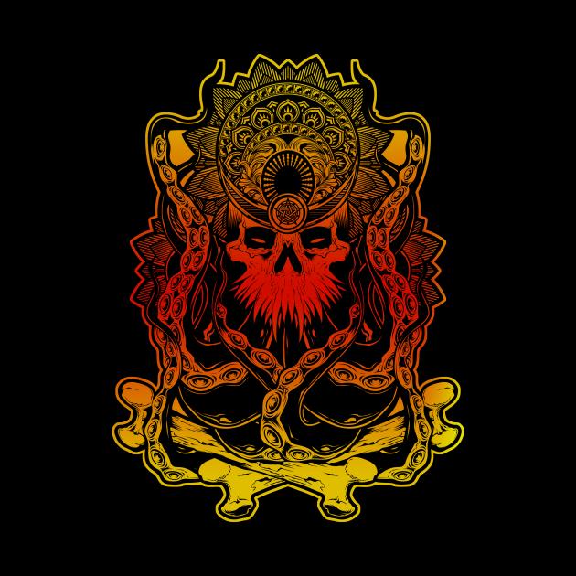 skull mandala crowned with wiccan pentacle