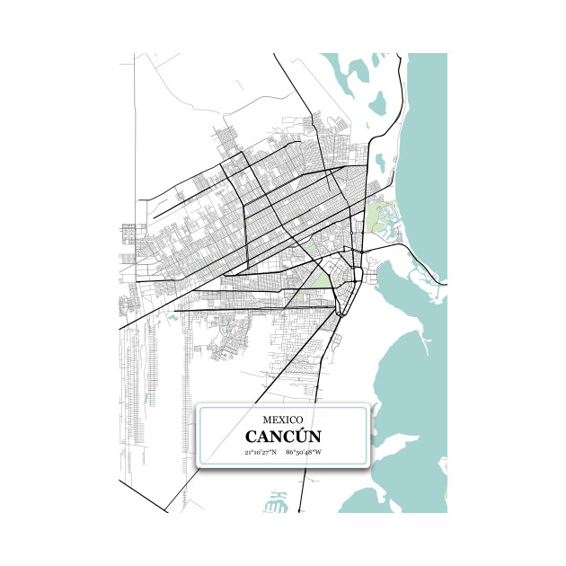 Cancun, Mexico City Map with GPS Coordinates on