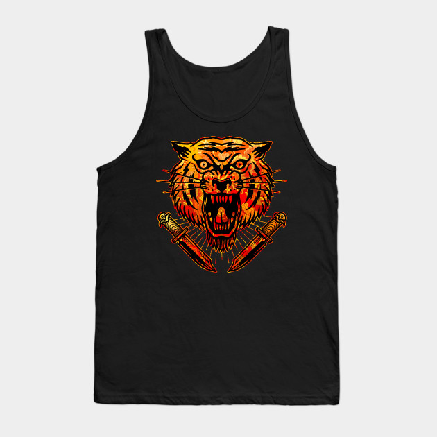 ca32a73c0 Tiger with Knives Vintage Tattoo Flash American Traditional Tank Top