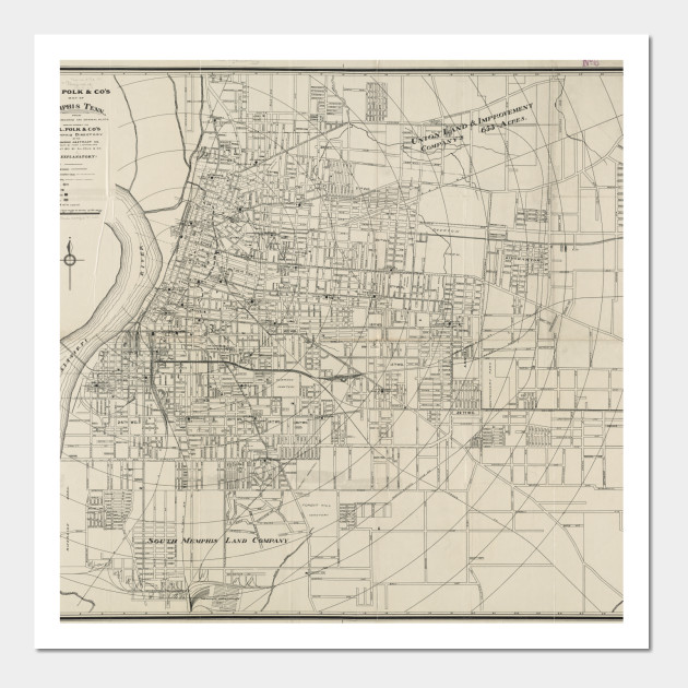 Vintage Map of Memphis Tennessee (1911)