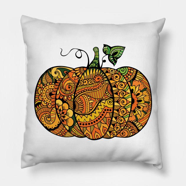 961c320f Zentangle pumpkin - Pumpkin - Pillow | TeePublic