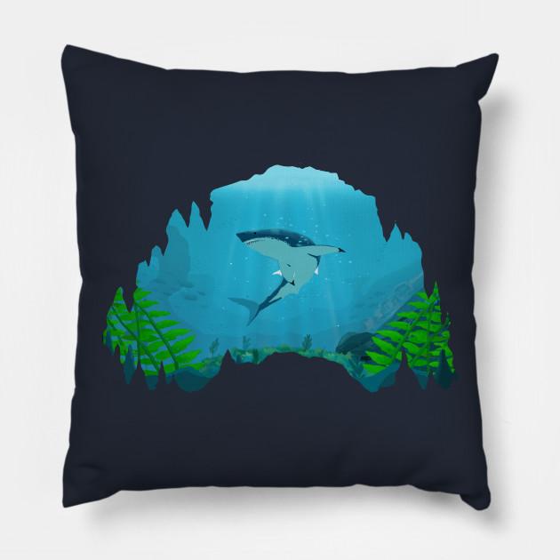 5bb926837e78 Great White Shark - Shark - Pillow