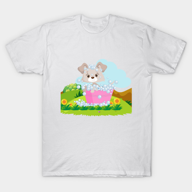 47a14751d0f8 Cute Puppy in bath shirts for girls - Cute Puppy For Girls Pillow ...