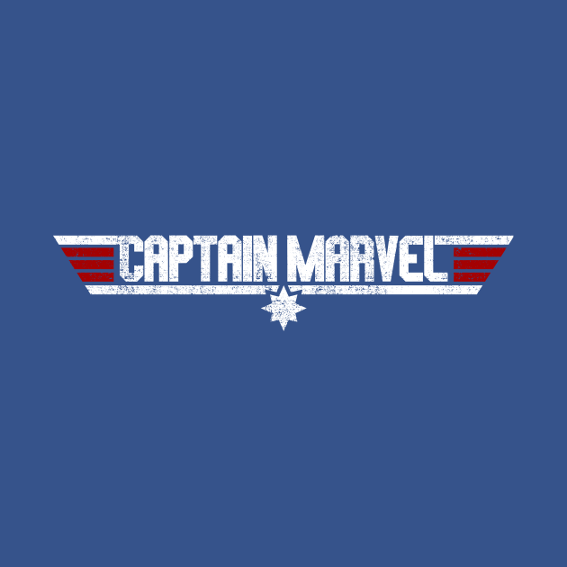 Captain Marvel Top Gun Style Logo White on Blue