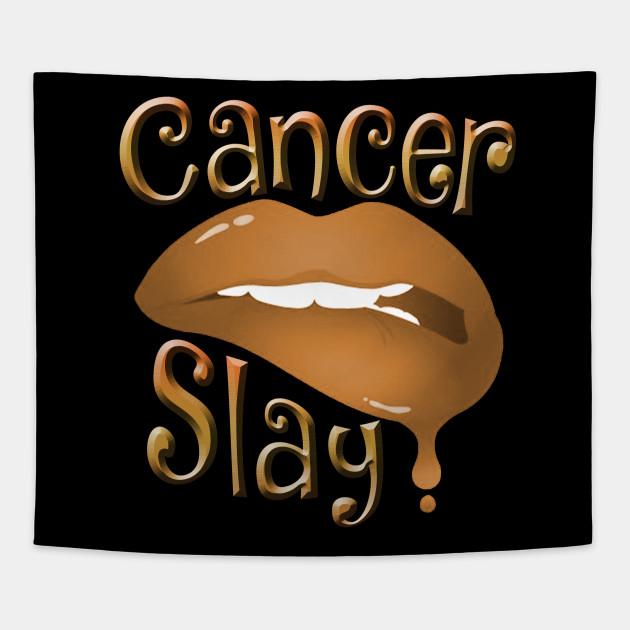 Zodiac Cancer Slay Golden Lips Tapestry